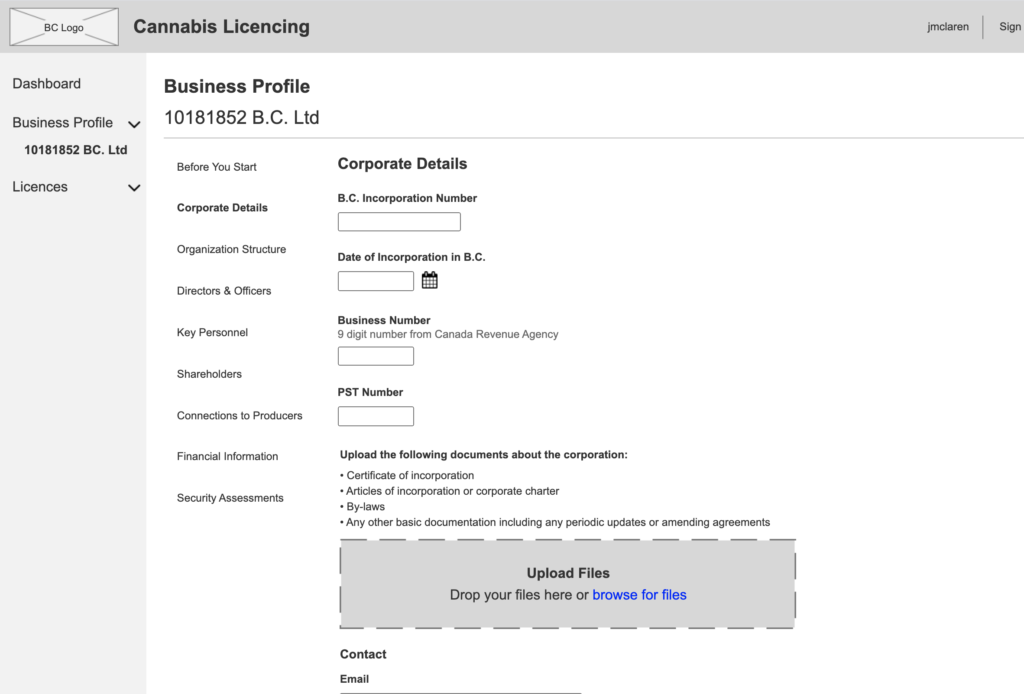Screen shot of prototype for the license application page