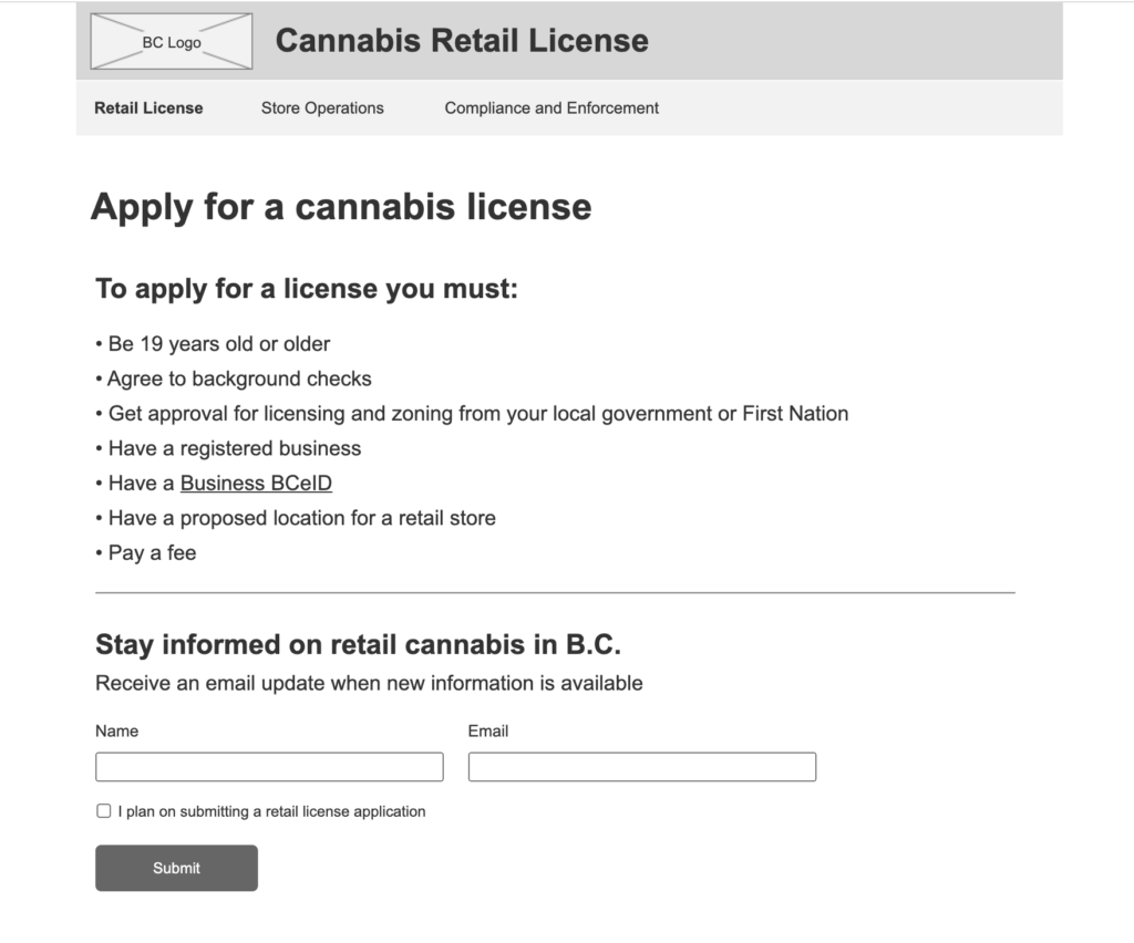 Wireframe of webpage describing what is required to apply for a license