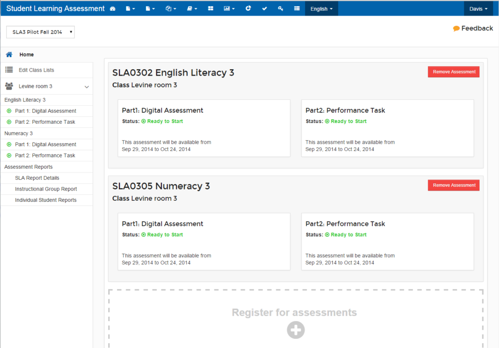 Home page of assessment application saying two assessments